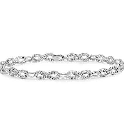 Infinity Diamond Tennis Bracelet in Sterling Silver - 1/4ct 7-Inch (AGS Certified)