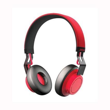 red jabra wireless stereo headphones
