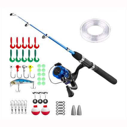 blue telescoping fishing rod and reel with gear