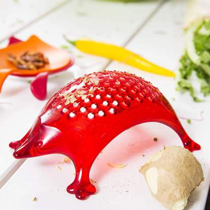 Red hedgehog shaped cheese grater
