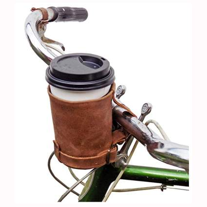 handmade leather bicycle cup holder