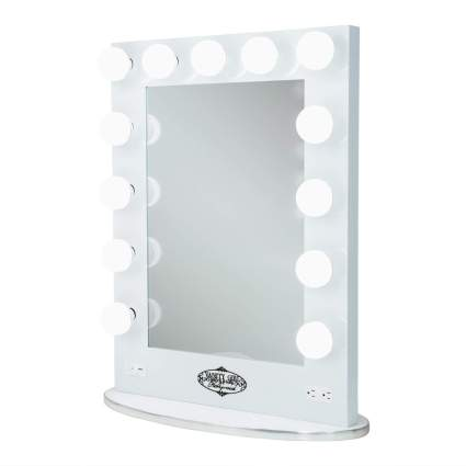 Lighted Vanity Mirror with 2 Outlets and Dimmer Switch