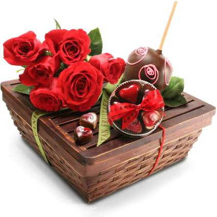 Manhattan Fruitier Belgian Caramel Apple, Chocolates Ganache Hearts and Fresh Roses Valentine's Gift Basket