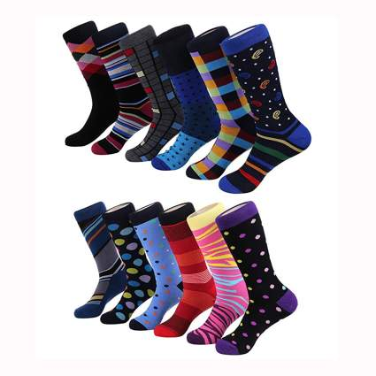 men's bright print dress socks