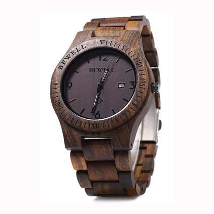 men's wooden analog watch