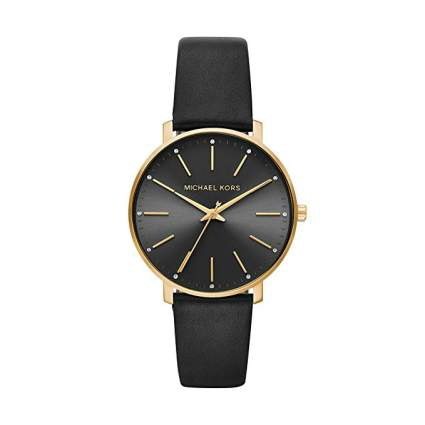 Michael Kors Womens Stainless Steel Quartz Watch with Leather Calfskin Strap