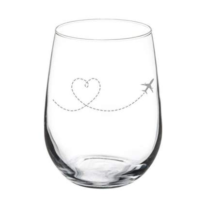 MIP plane wine glass aviation gifts