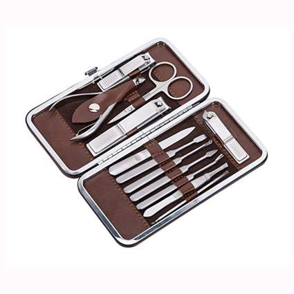 12 piece nail care set in brown carrier