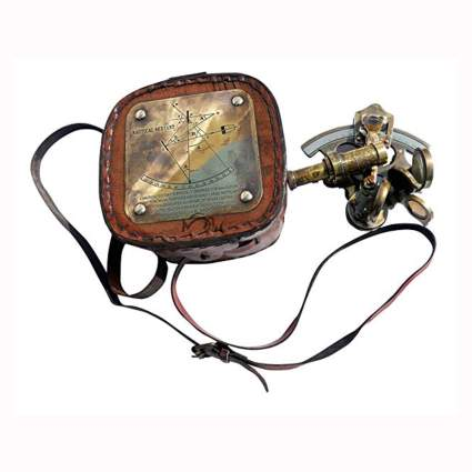 pocket sextant with leather case
