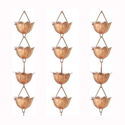 copper lotus flower rain chain