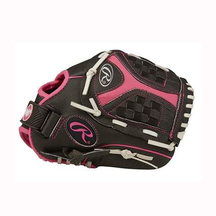 black and pink girls softball glove