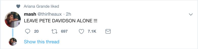 Ariana Grande likes tweet