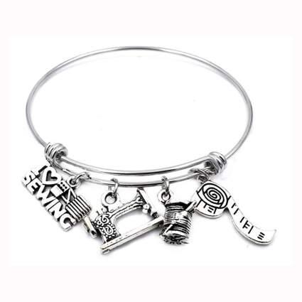 silver tone sewing charm bracelet
