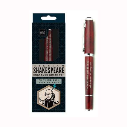 woodem Shakespeare quote pen