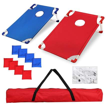 Red and blue corn hole boards
