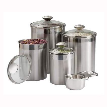 stainless steel kitchen cannister set