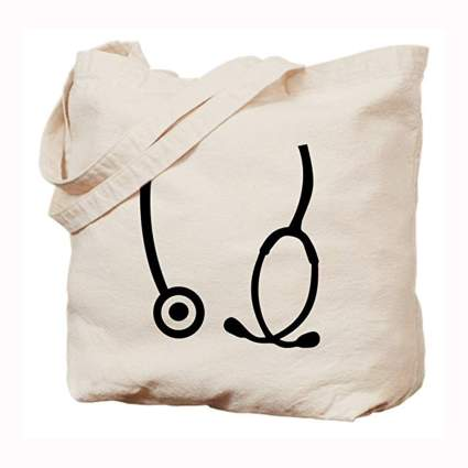 stethoscope natural canvas tote