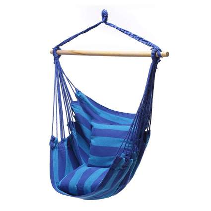 Blue hanging rope chair