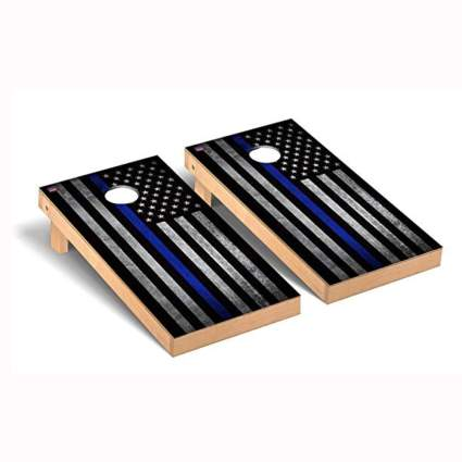 thin blue line police themed cornhole set