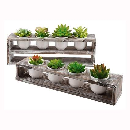 tiered wood succulent plant stand with white pots