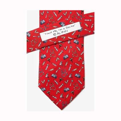 red silk doctor tie