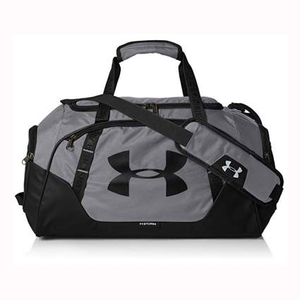 gray and black large duffle bag