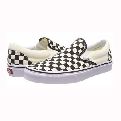 black and white checkered vans slip ons