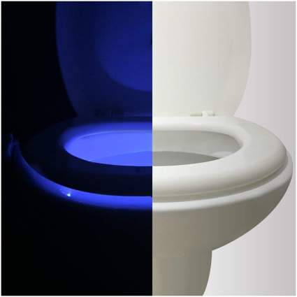 Toilet with blue glow