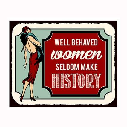 women's history vintage metal sign