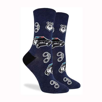 women's police themed socks
