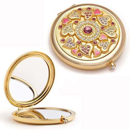 gold and crystal studded compact purse mirror
