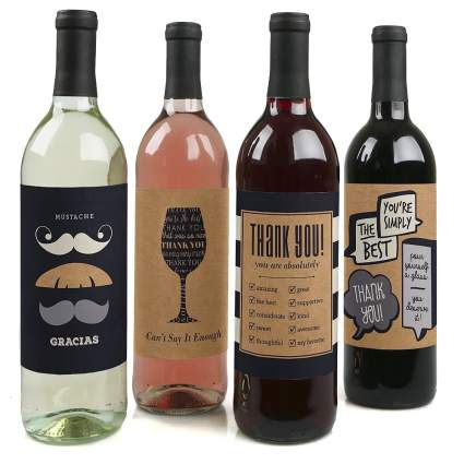 wine bottle labels - thank you