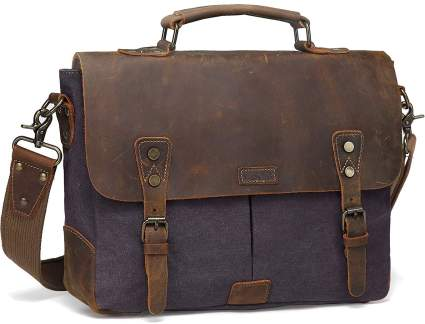 Vaschy Vintage Genuine Leather Canvas Messenger Bag