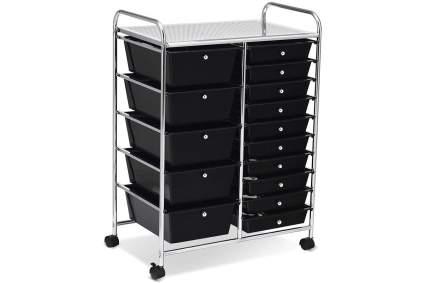 black organizer cart with drawers