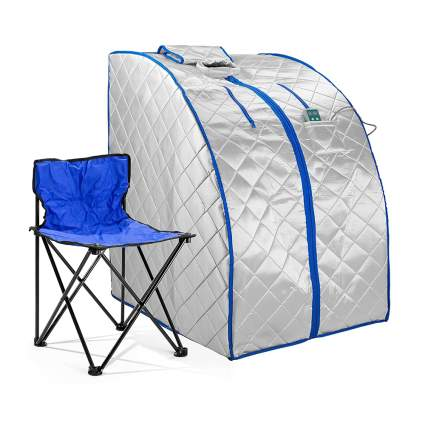 personal sauna with folding chair