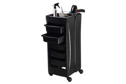 Black hairdresser storage cart with tools