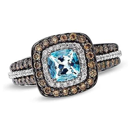 Le Vian aquamarine and chocolate diamond ring