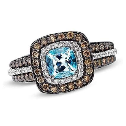 Le Vian aquamarine and chocolate diamond ring
