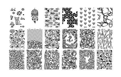 maniology floral nail art plates