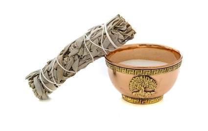 Sage bundle with brass bowl incense burner