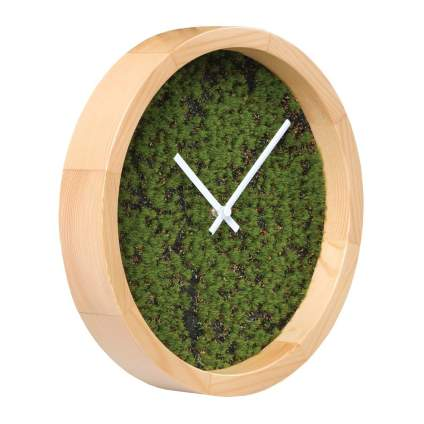 Wooden clock with moss