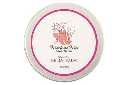 round tin of midwife and mum belly cream