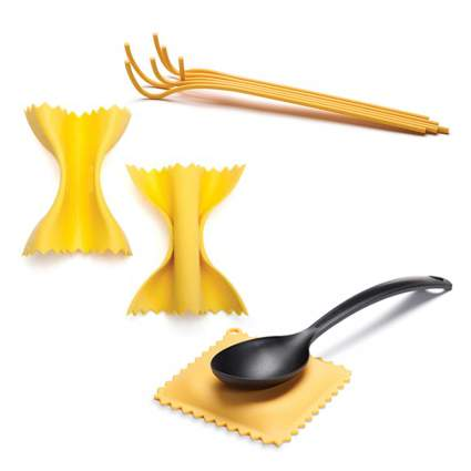 Pot holders, server, and spoon rest that look like pasta