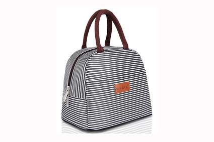 brown and white striped insulated lunch tote