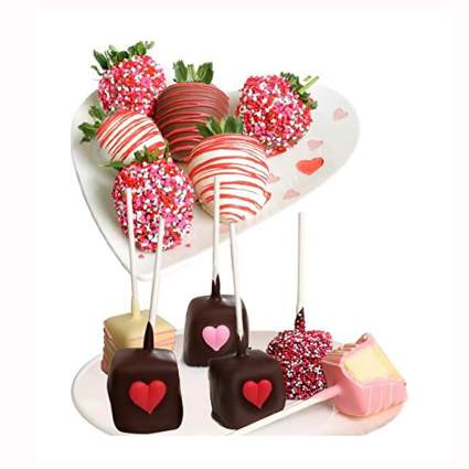 belgian chocolate covered strawberries and cheesecake pops