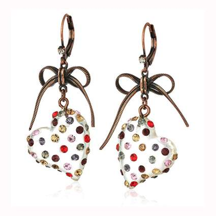 multi colored stone heart drop earrings