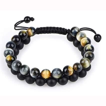 black onyx and tiger eye bead bracelet