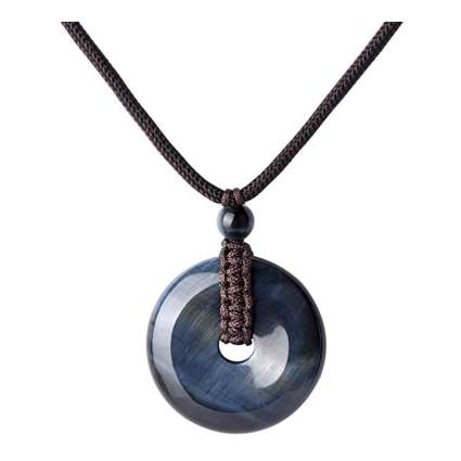 blue tiger eye donut pendant
