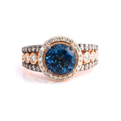 rose gold blue topaz and diamond ring