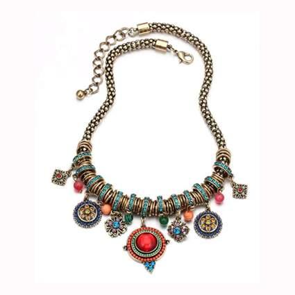 enamel and rhinestone boho necklace